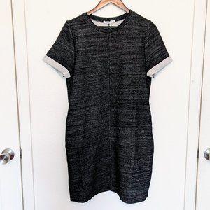 HAZEL - Cuffed Gray T-Shirt Dress w/ Pockets L